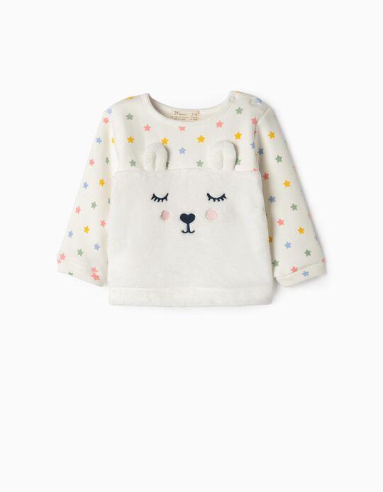 Sweatshirt Combinada para Recém-Nascida 'Bunny & Stars', Branco