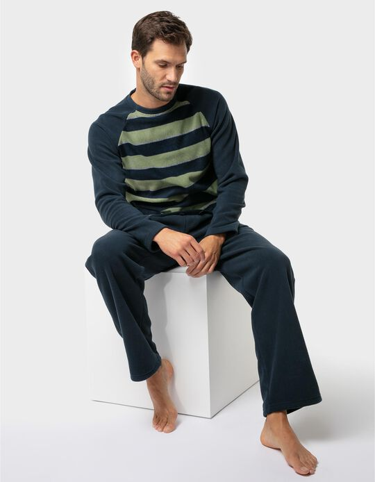 Conjunto de pijama polar quente riscas