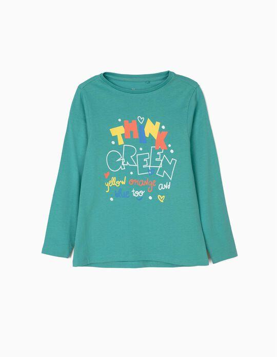 T-shirt Manga Comprida para Menina 'Think Green', Azul