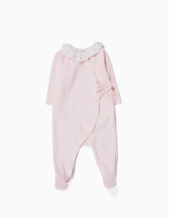 Velvet Sleepsuit with Bow for Newborn, Pink