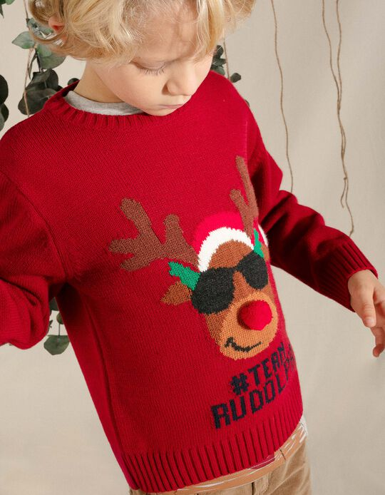 Jumper for Boys, 'Team Rudolph', Red