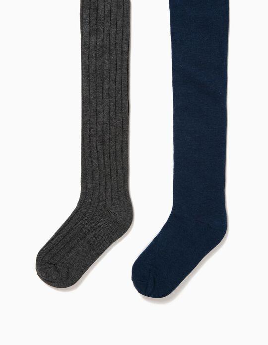 2-Pack Knit Tights for Girls, Dark Grey/Dark Blue