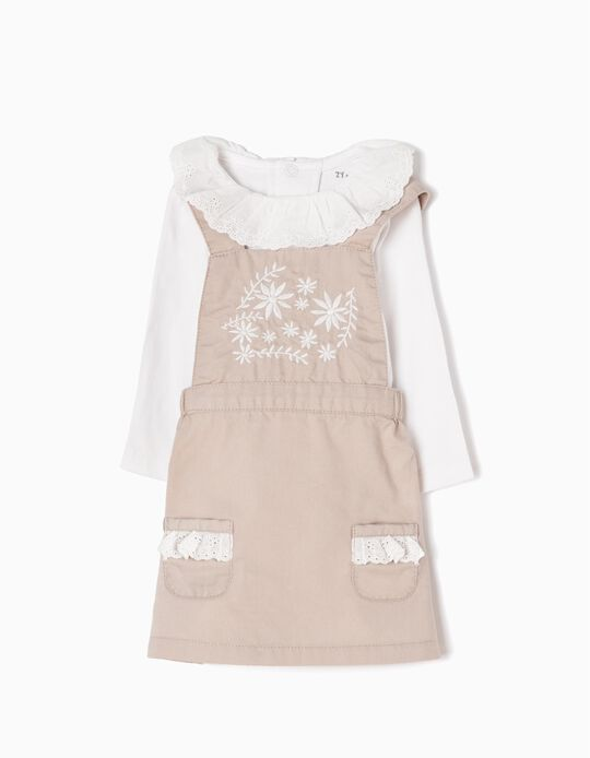 Pinafore Dress & Bodysuit Outfit, with Embroideries