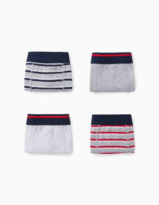 4 Boxer Shorts for Boys, 'Stripes', Multicoloured