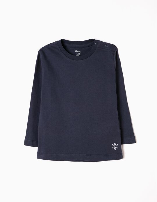 Long Sleeve Top for Baby Boys, Dark Blue