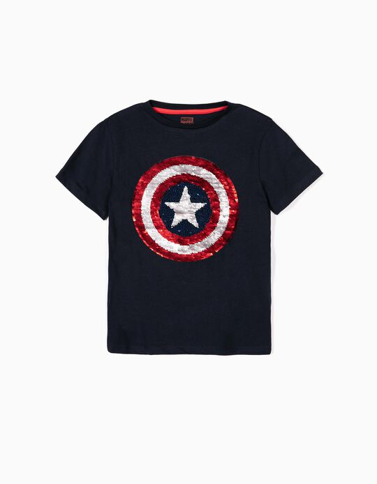 T-shirt for Boys 'Captain America', Dark Blue