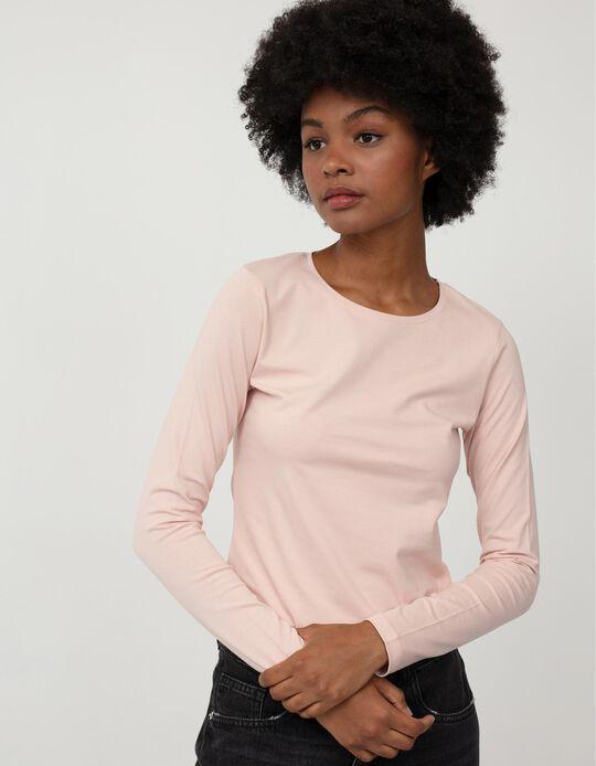 Basic Long Sleeve T-shirt, Women, Pink