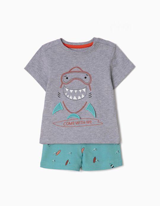 Pijama para Bebé Menino 'Shark', Cinza e Azul