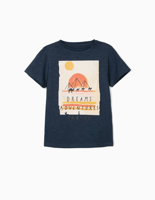 T-Shirt for Boys, 'Dreams, Adventures & Travel', Dark Blue