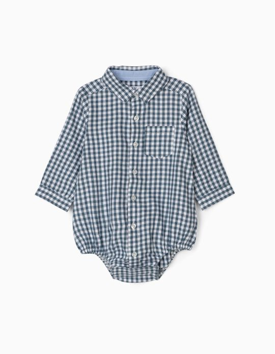 Body-Camisa para Recém-Nascido 'Vichy', Azul/Branco