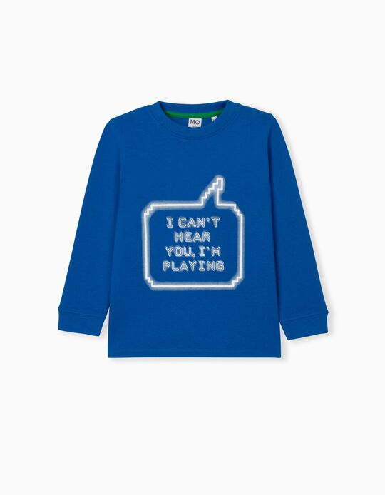 Sweatshirt with Print, Kids, Blue