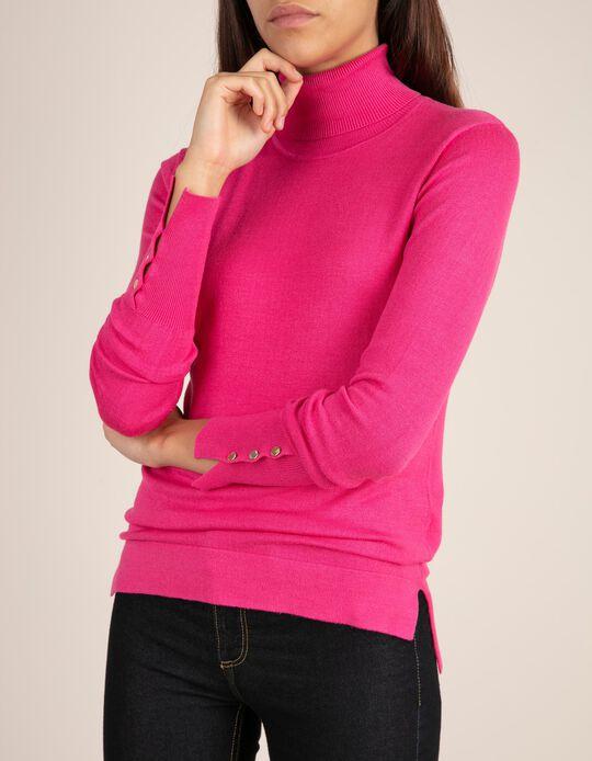 Camisola de gola alta com botões na manga