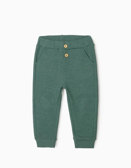 Waffle Joggers for Baby Boys, Green