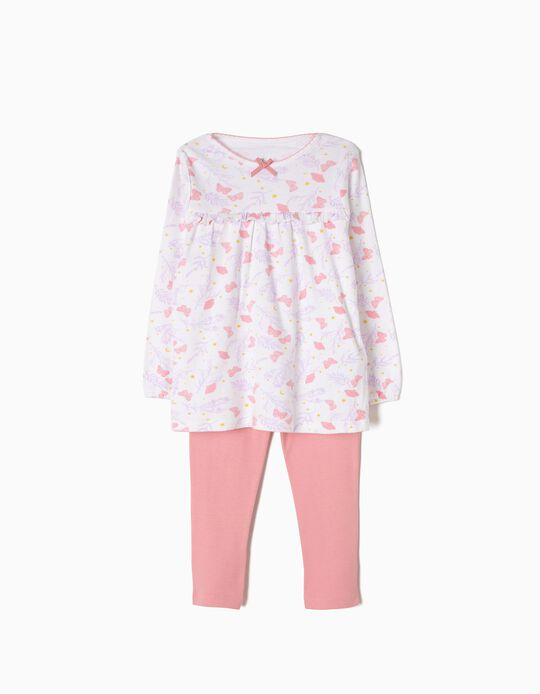 Pijama Manga Comprida e Calças Borboletas