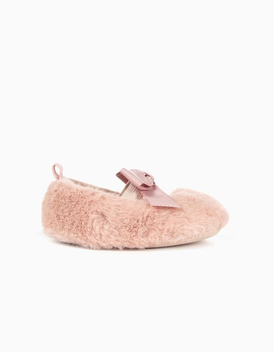Fluffy Ballerinas for Newborn Girls, Pink