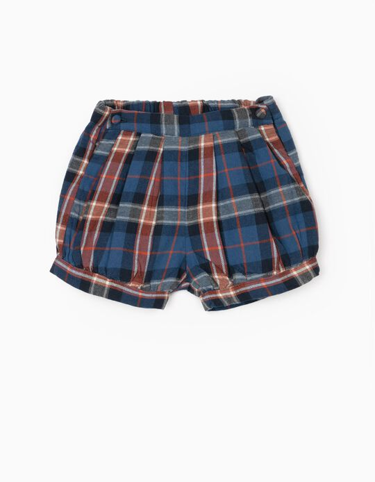 Plaid Shorts for Baby Girls, Blue/Red