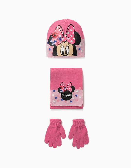 Conjunto cachecol gorro luvas Minnie