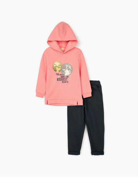 Tracksuit for Girls 'Biggest Hearts', Pink/Dark Blue