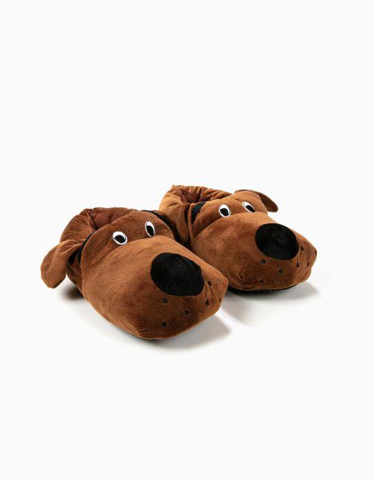 Pantufa cão castanho