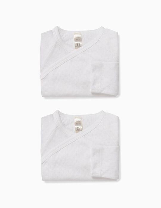 2-Pack Textured Bodysuits for Newborn, White