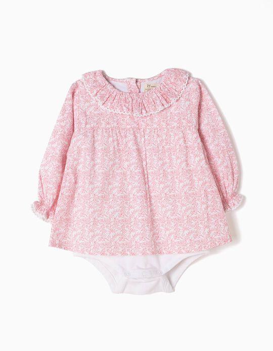 Body Blusa Rosa e Branco