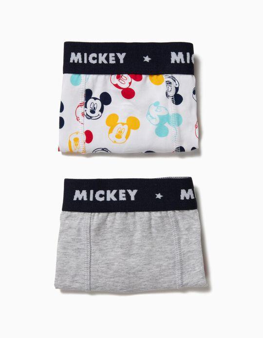 Pack 2 Boxers para Menino 'Mickey', Cinza e Branco