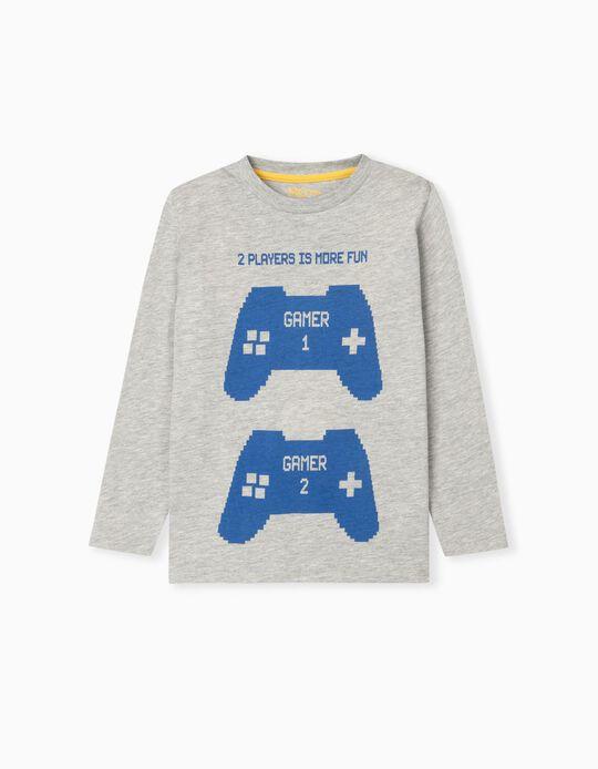 Long Sleeve Gamer Top for Boys, Grey