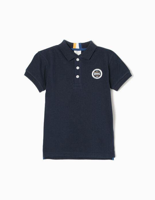 Blue Short-Sleeved Polo Shirt, Baseball