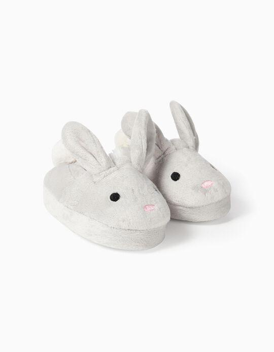 Pantufas para Bebé Menina 'Cute Bunny', Cinza