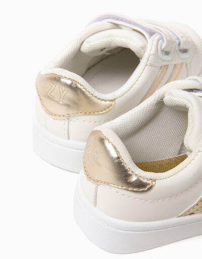 Sapatilhas com Velcro Brancas e Douradas