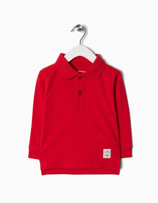 Long-Sleeved Polo Shirt for Baby Boys, Red