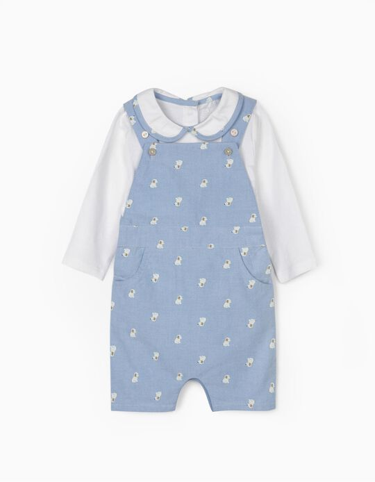 Dungarees and Bodysuit for Newborn Baby Boys, 'Cute Dogs', Blue/White
