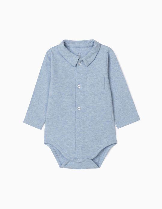 Body-Camisa para Recém-Nascido, Azul Mesclado