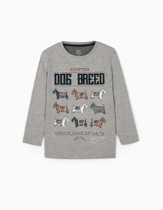 T-Shirt de Manga Comprida para Menino 'Dog Breed', Cinza