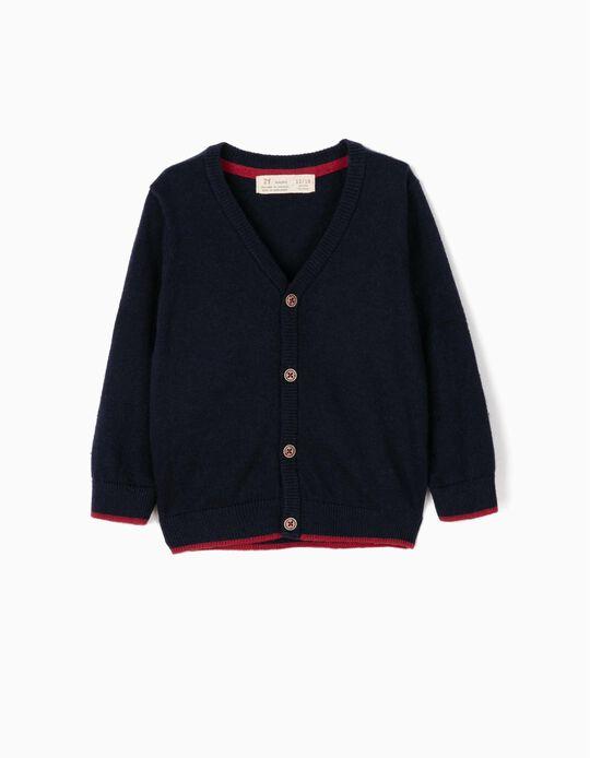 Knit Cardigan for Baby Boys, Dark Blue