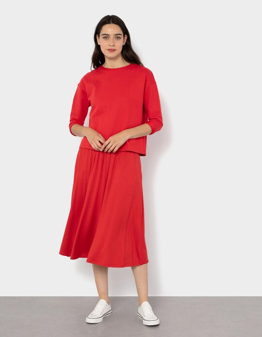 Fluid Midi Skirt, Red