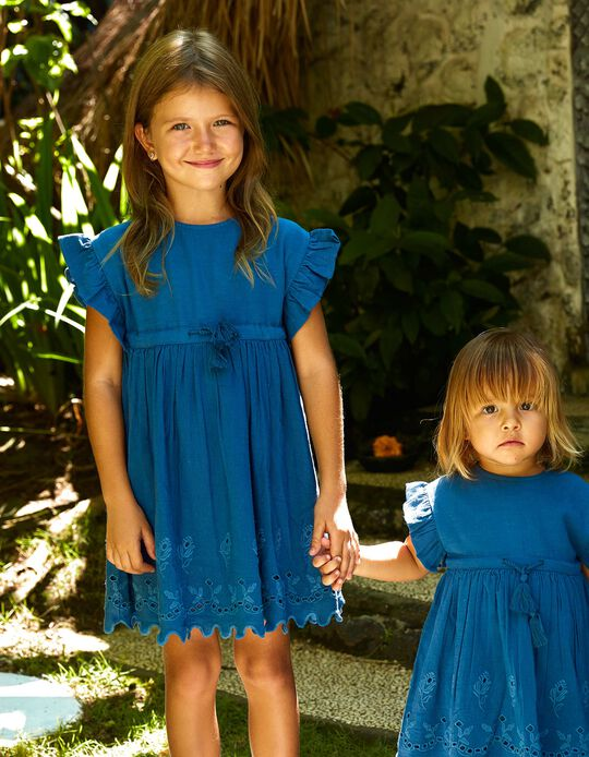 Dress for Girls 'B&S' with Embroidery, Blue