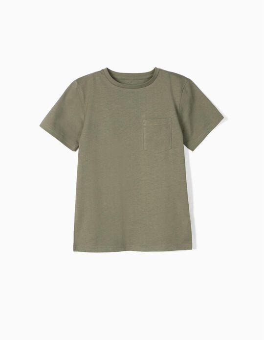 T-shirt com Bolso para Menino em Algodão Orgânico, Verde