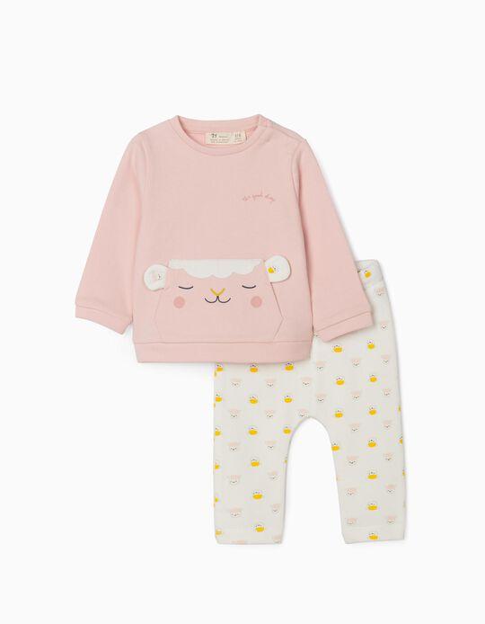 Jumpsuit for Newborn Baby Girls, 'Good Sheep', Pink/White