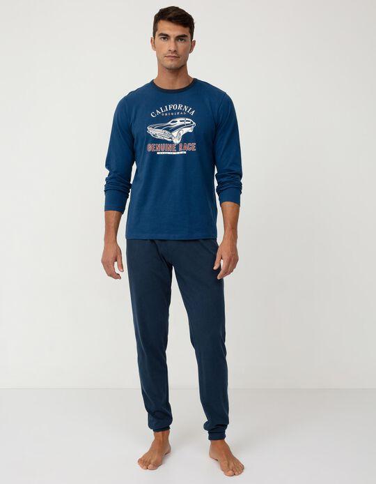 Pijama de Algodão Homem, Azul Escuro
