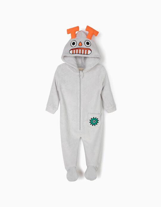 Babygrow Polar com Capuz para Bebé Menino 'Robots', Cinza