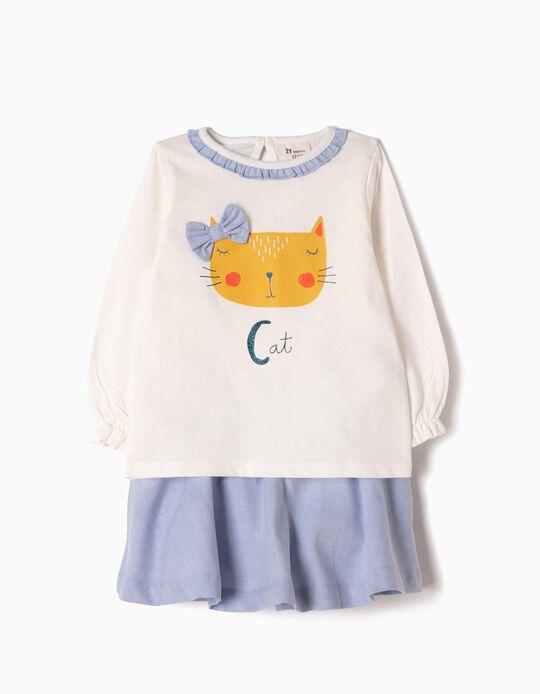 Saia com Tapa-Fraldas e T-shirt Manga Comprida Cat