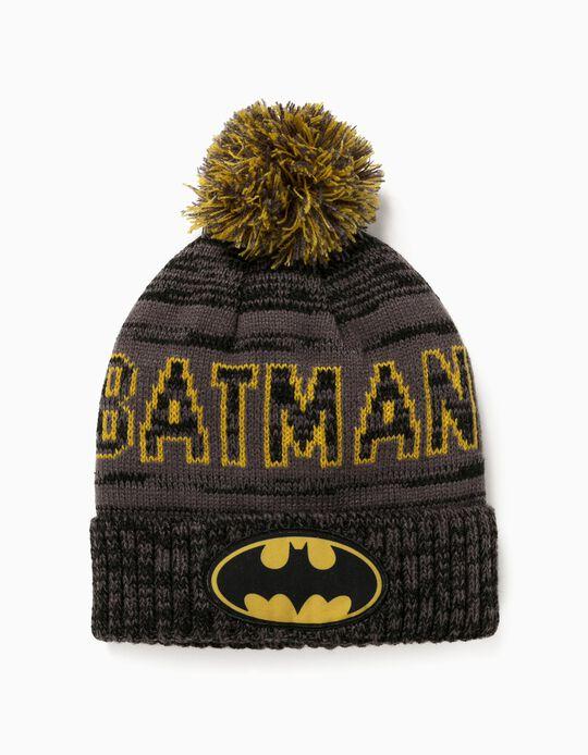Knitted Beanie for Boys 'Batman', Dark Grey/Yellow