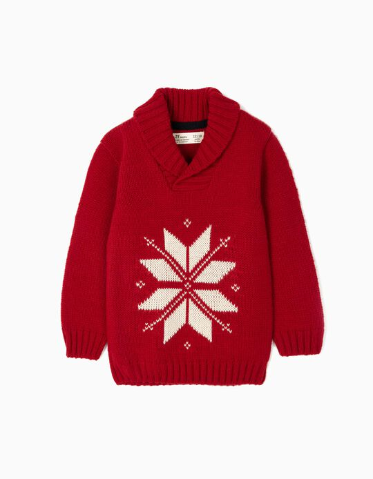 Knit Jumper with Jacquard for Baby Boys, Red