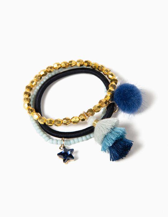 3 Pulseiras Azul e Dourado