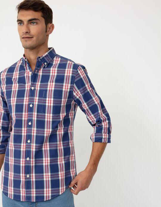 Camisa aos Quadrados, Homem, Azul