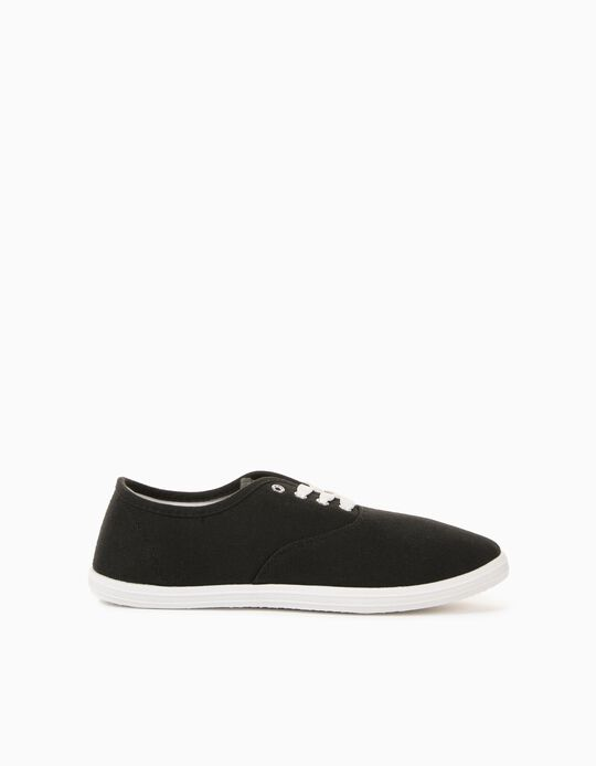 Canvas Trainers for Men, Black