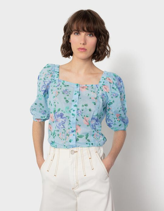 Floral Print Blouse with Puff Sleeves
