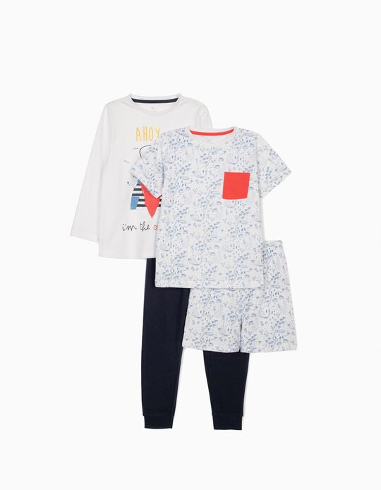 2 Pyjamas for Boys, 'Sailor', Blue/White