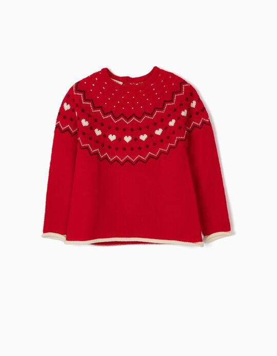 Jumper for Girls, 'Hearts', Red